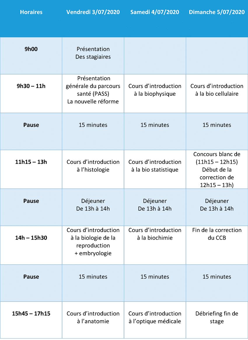 planning stage immersion parcours santé